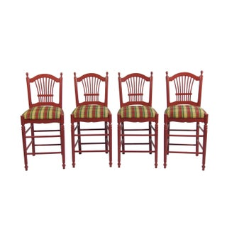 Red Bar Stools With Gingham Upholstery - Set of 4 For Sale