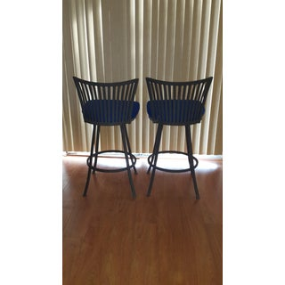 Trendler Mid Century Modern Peacock Blue Swivel Bar Stools- a Pair Preview