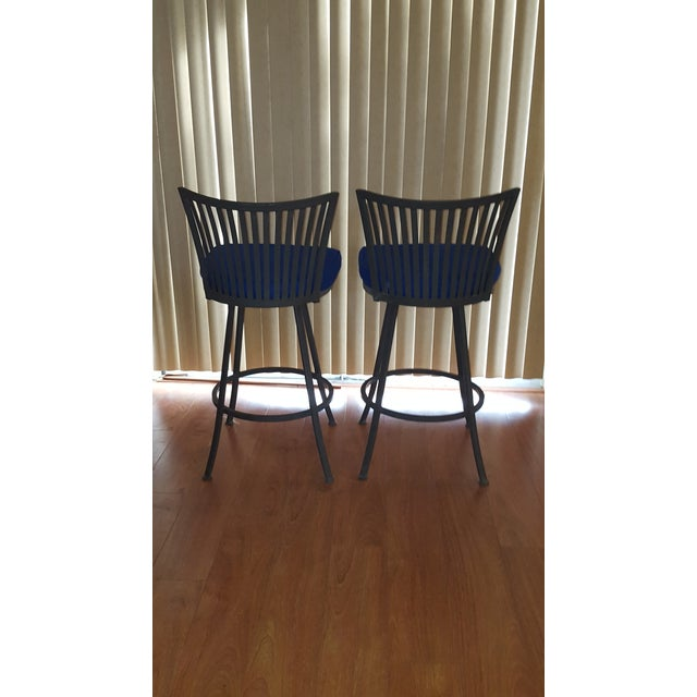 """Mid Century Modern 30"""" Bar Stools. Trendy & Vintage with 3"""" foam, Peacock Blue Cushioned Seats. Manufactured by Trendler..."""