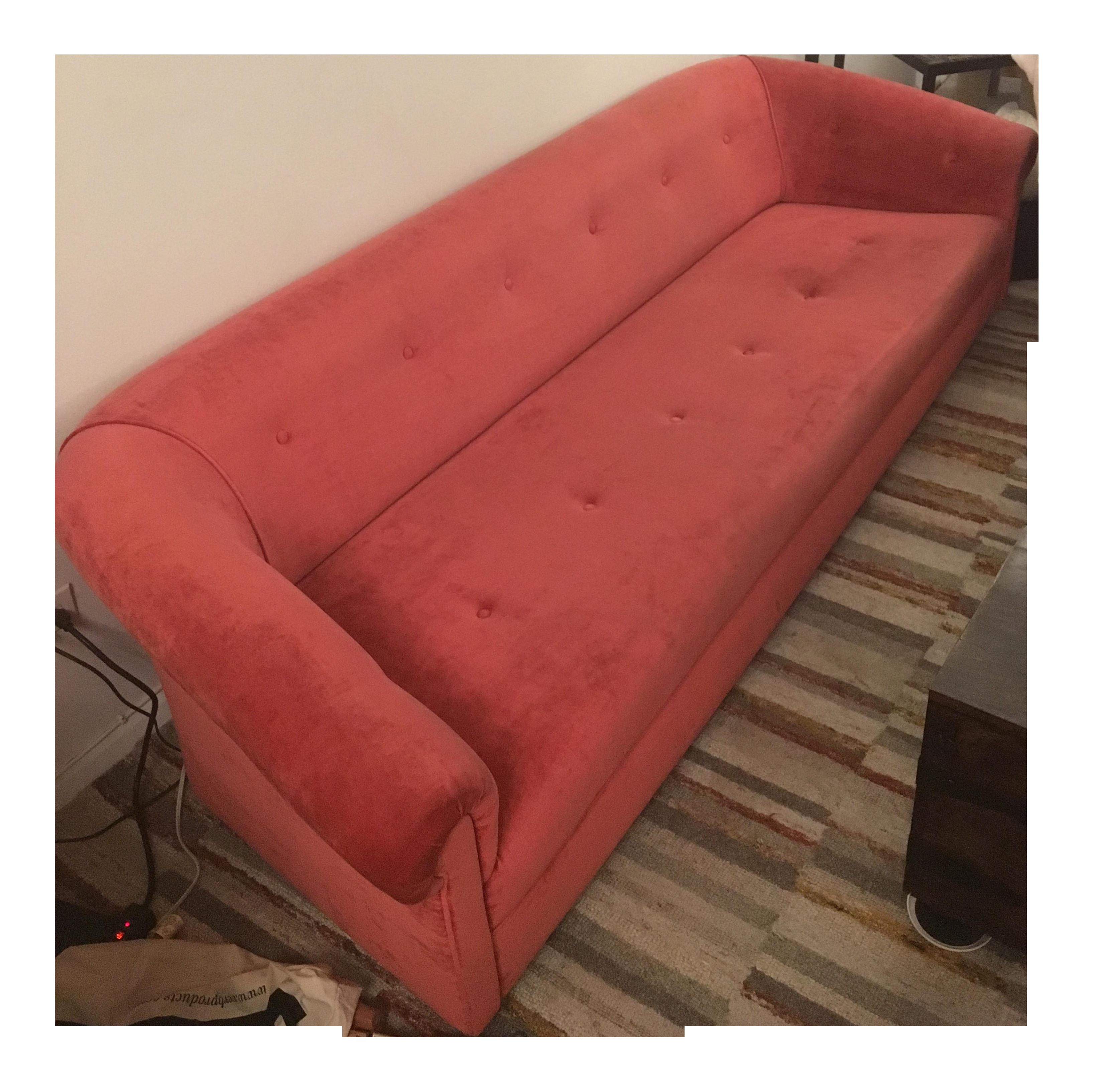 Vintage 8ft Red Tufted Sofa