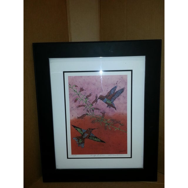 """Contemporary Marilyn Salomon """"Wings at Dawn"""" Original Batik Print For Sale - Image 3 of 8"""