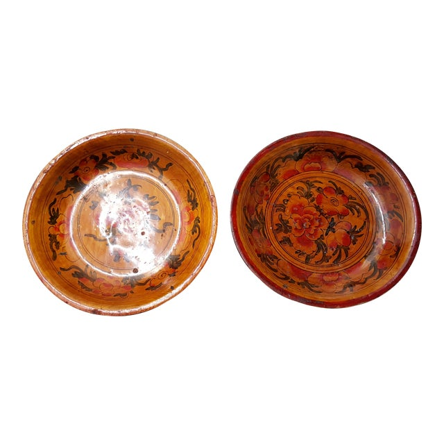 Japanese Wooden Inscribed Bowls - Pair Lacquer Finish - Image 1 of 4