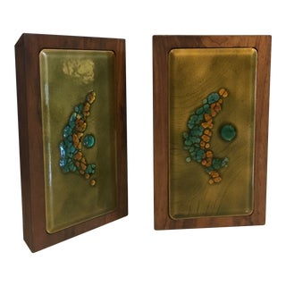 Bovano Enamel and Walnut Mid Century Modern Bookends - a Pair For Sale