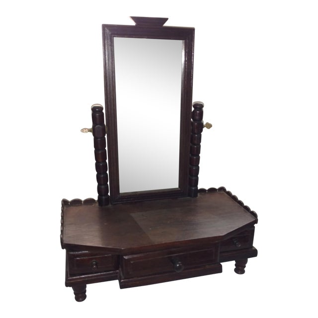1930s British Colonial Teak Shaving Mirror For Sale