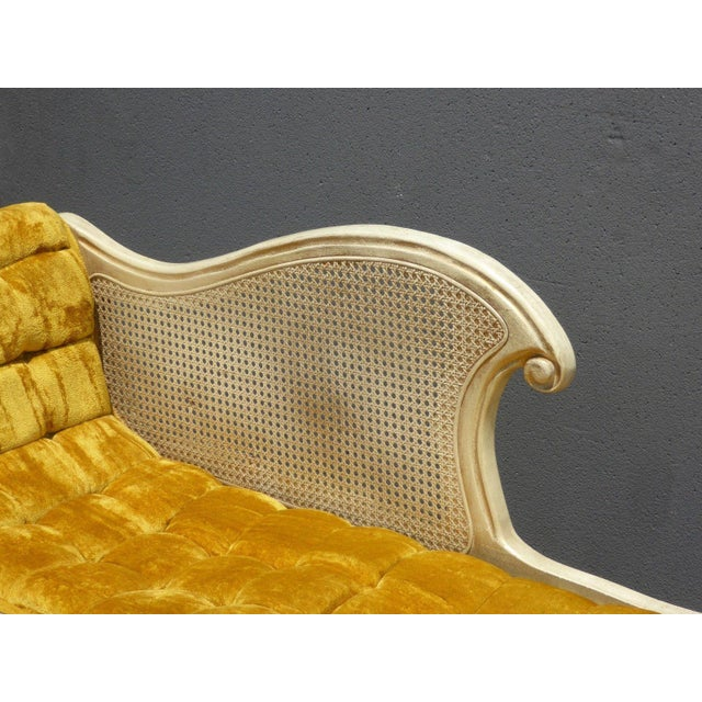 French Provincial White Cane & Gold Velvet Bench Settee For Sale - Image 11 of 11