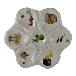 Haviland Limoges Porcelain Hand Painted Sea Horse & Conch Oyster Plate For Sale