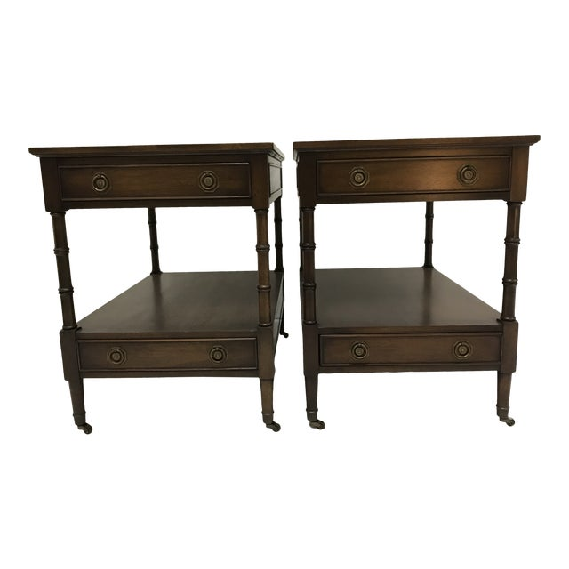 Hekman Walnut Side Tables - Pair For Sale