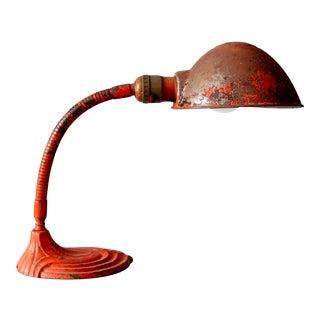 Vintage Red Gooseneck Lamp For Sale