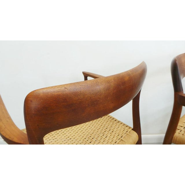 Mid Century j.l. Moller Danish Modern Teak Framed Rope Seat #56 Arm Dining Chairs by j.l. Moller For Sale - Image 9 of 11