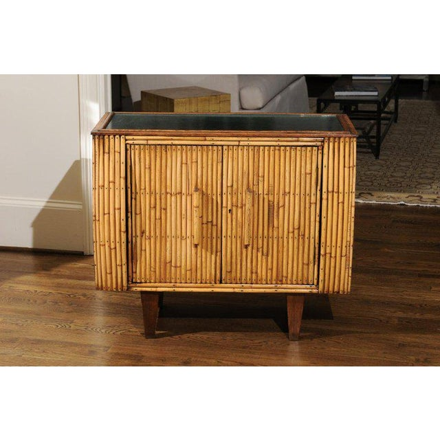 Art Deco Chic Restored Art Deco Commode in Bamboo and Black Lacquer, Circa 1940 For Sale - Image 3 of 12
