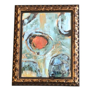 Original Contemporary Stephen Heigh Abstract Painting Ornate Vintage Frame For Sale