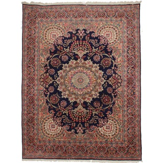 Rugsindallas Navy Persian Kerman Rug- 10′ × 13′1″ For Sale