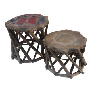 Hide-Covered Ethnic Drums - A Pair