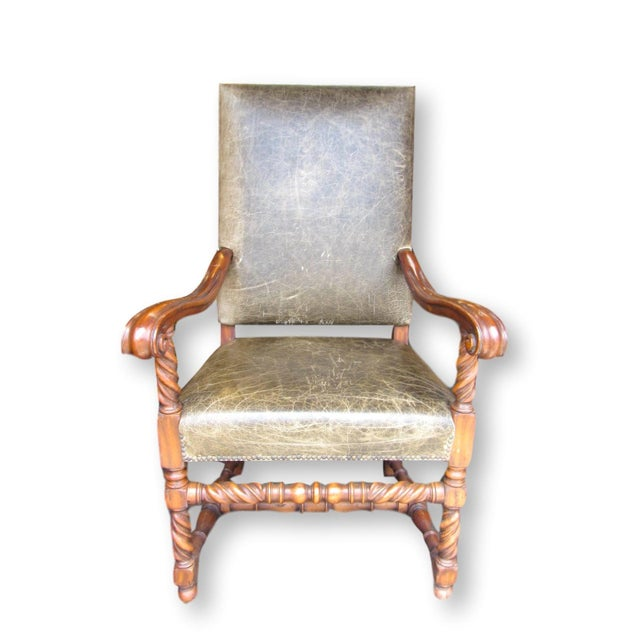 Gregorius Pineo Leather Barley Twist Chair - Image 2 of 8