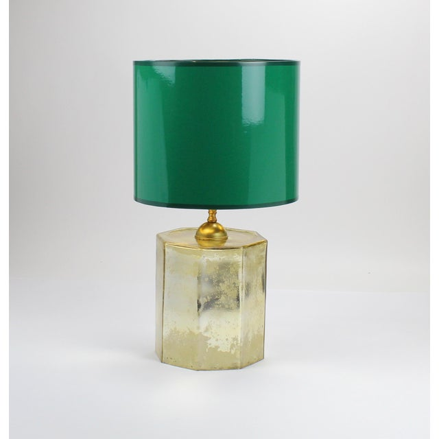 Modern Small High Gloss Emerald Green Drum Lampshade For Sale - Image 3 of 7