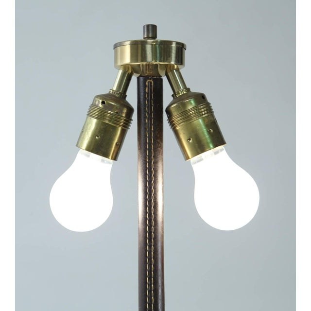 1950s Pair of Minimal Floor Lamps with Leather Stem and Long Shade, Kalmar, Austria For Sale - Image 5 of 6
