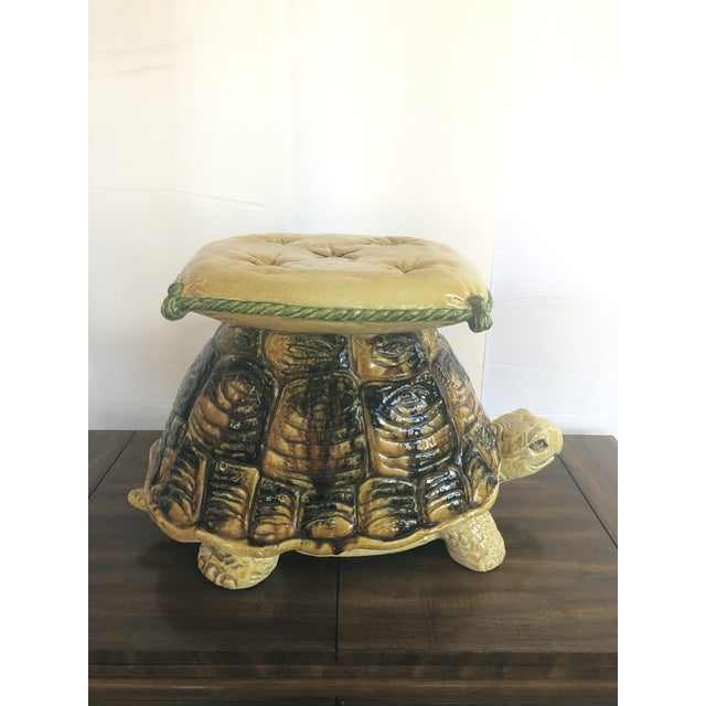 1960s Vintage Italian Turtle Garden Stool Glazed Painted Terra Cotta For Sale - Image 5 of 12