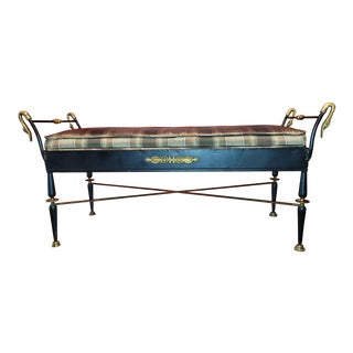 1960s Neoclassical Style Black Iron and Brass Swan Head Bench For Sale