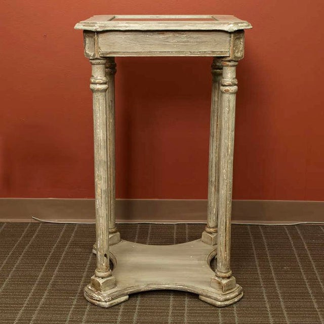 French 2-Tier Painted Wood & Caned Side Table For Sale - Image 4 of 6