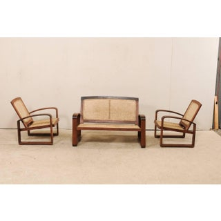 Vintage British Colonial Cane & Wood 3-Piece Seating Set With Chairs & Loveseat Preview