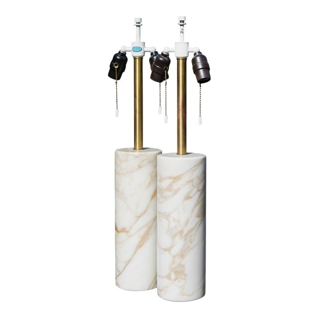 Table Lamps in Calacatta Marble & Brass by Nessen Lamps - a Pair For Sale