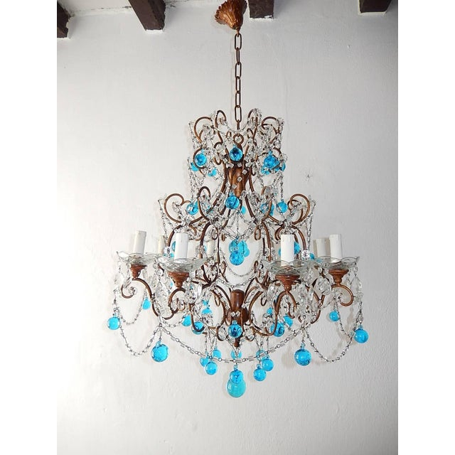 French Blue Murano Balls Beaded Swags Chandelier, circa 1900 For Sale - Image 13 of 13