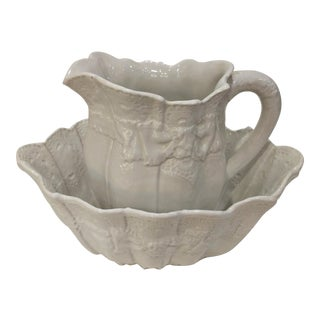 Vintage Italian Creamware Lace Pitcher & Bowl Set - 2 Pieces For Sale