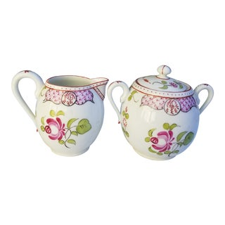 Antique Pink Floral Limoges Sugar and Creamer - a Pair For Sale