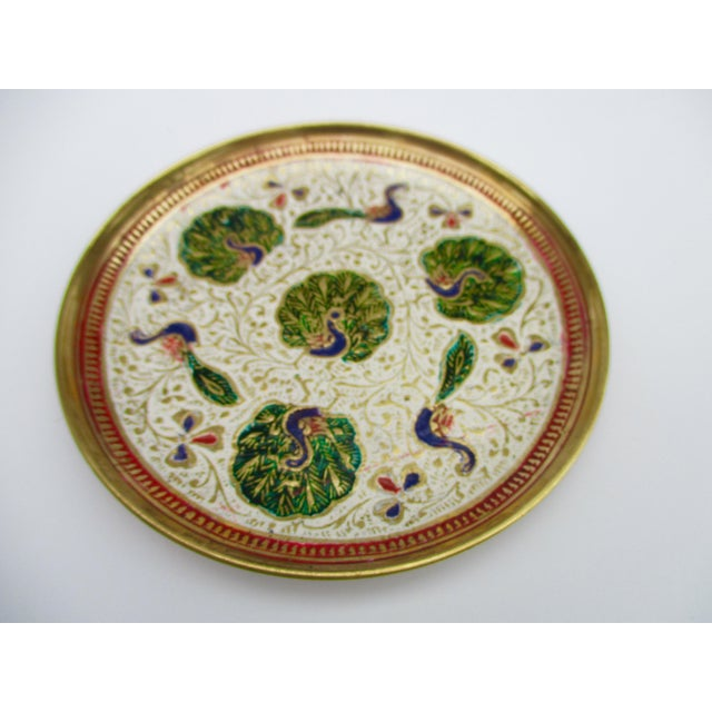 Enamel and Brass Peacock Trinket Dish Bowls - Set of 5 - Image 10 of 11
