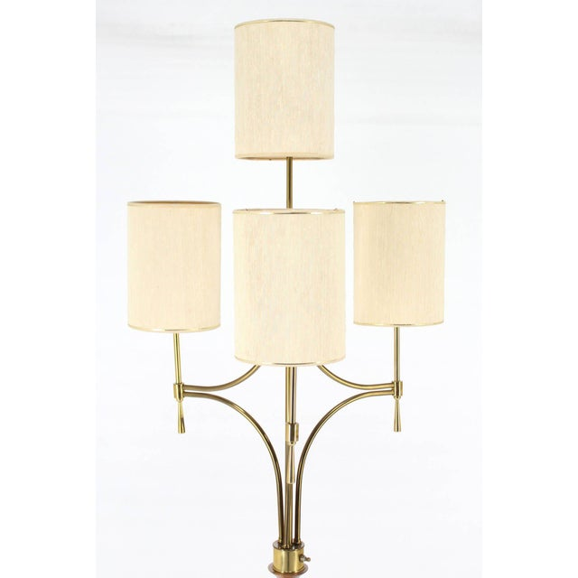 Mid-Century Modern Walnut, Brass, and Marble Floor Lamp with Marble Side Table For Sale - Image 4 of 10