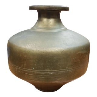 Late 19th Century Persian Brass Bulbous Pot For Sale
