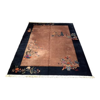 1920s Antique Art Deco Chinese Carpet - 8′11″ × 11′3″ For Sale