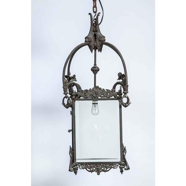 Gothic 1930s Bronze Lantern With Etched Glass For Sale - Image 3 of 9