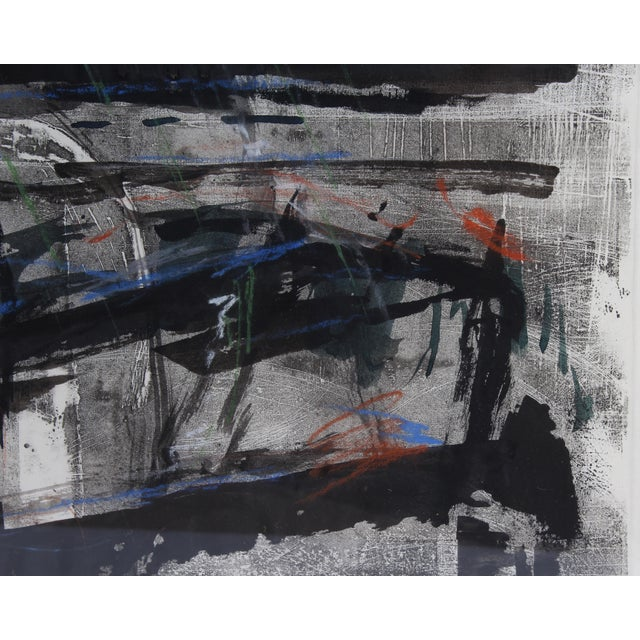 "1986 Herbert C. Cassill ""The Iron Boats"" Mixed Media Abstract Painting / Print For Sale - Image 9 of 11"