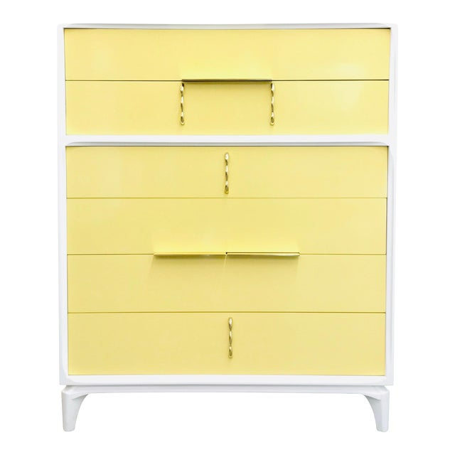 1970s Mid Century Modern White Yellow Lacquered Highboy Dresser For Sale