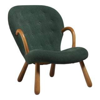 Philip Arctander Clam Chair with Green Upholstery, Denmark, 1940s For Sale