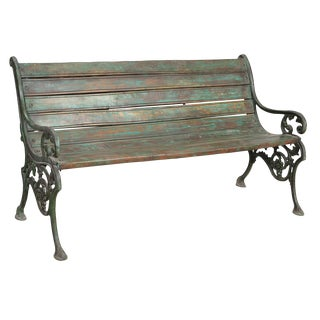 Teak and Iron Bench