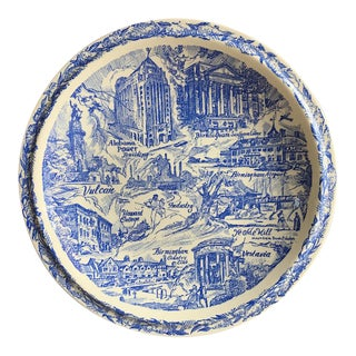 Alabama Places Plate by Vernon Kilns, Vintage Blue & White Pottery