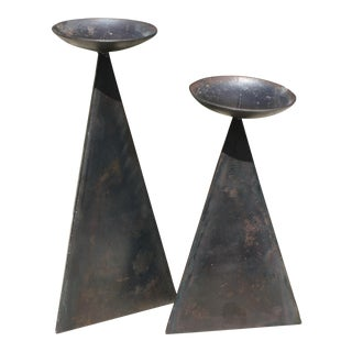 Modernist Metal Triangular-Shaped Pricket Candle Holders - a Pair