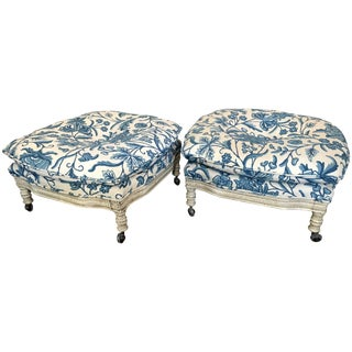 Pair of Vintage 1960s Italian Regency Style Crewel Work Embroidered Ottomans For Sale