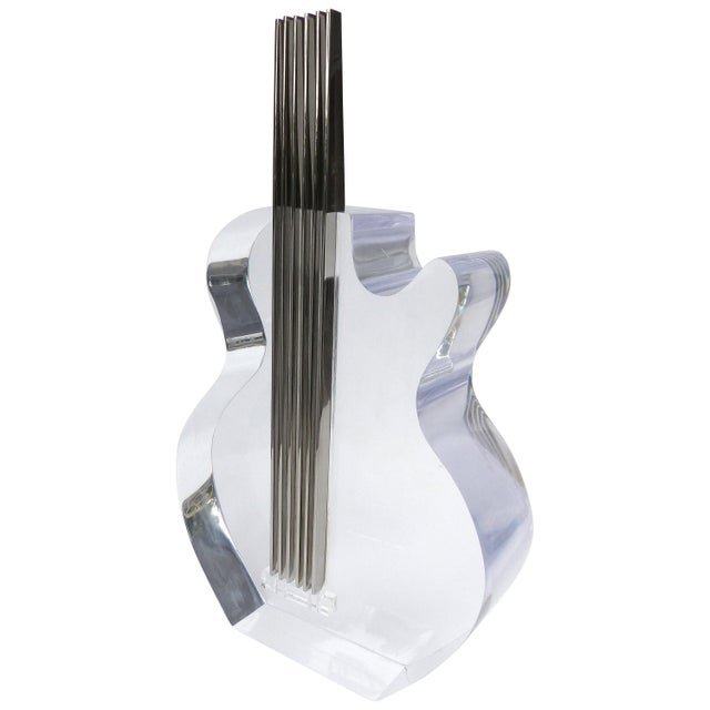 Custom Lucite and Stainless Steel Sculpture of a Guitar For Sale - Image 13 of 13