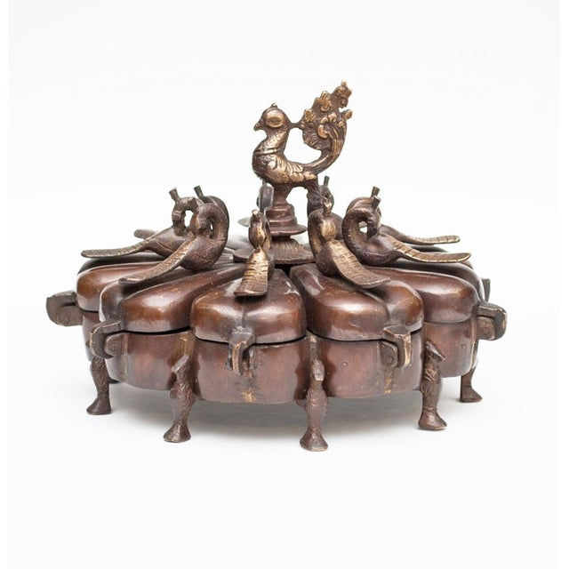 17th -18th Century Antique Chinese Peacock Spice Box For Sale - Image 12 of 13