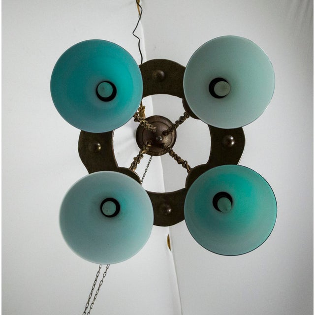 Arts & Crafts Hammered Darkened Metal Chandelier With Green Glass Shades For Sale - Image 11 of 12