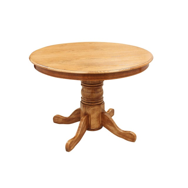 Round Oak Pedestal Table For Sale - Image 4 of 8