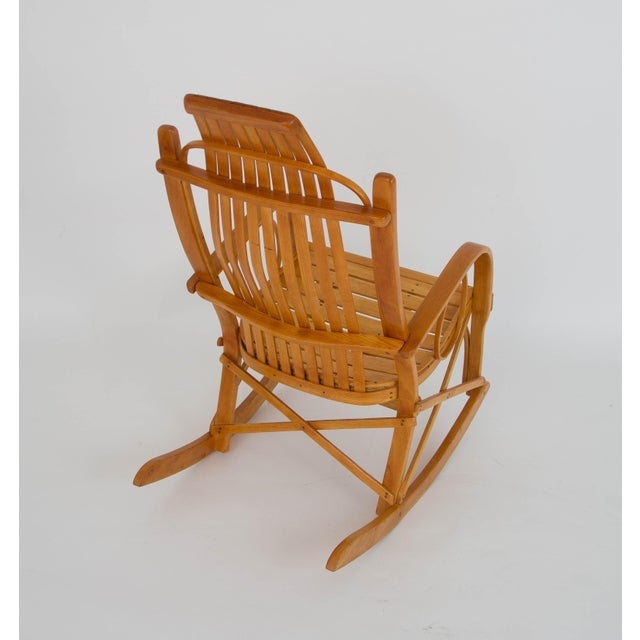 Bentwood Adirondack Rocking Chair with Slatted Seat For Sale - Image 9 of 9