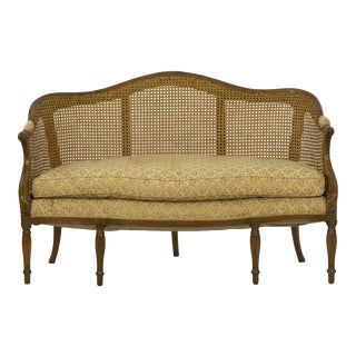 French Louis XVI Carved Fruitwood Antique Settee Sofa, Circa Late 18th Century For Sale