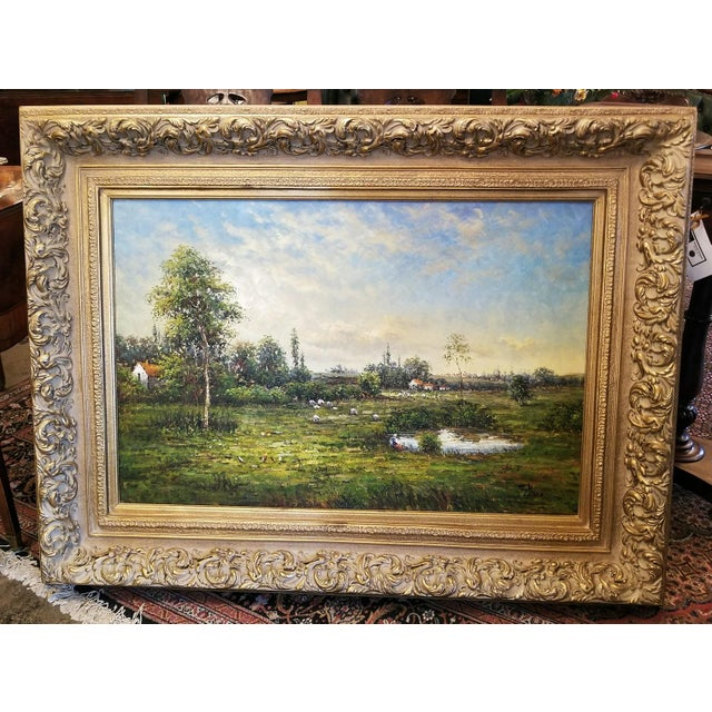 Large Dutch School Landscape Oil Painting on Canvas by Jack Lanze For Sale - Image 4 of 8