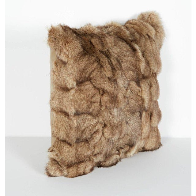 Contemporary Luxury Fox Fur Throw Pillows in Taupe For Sale - Image 3 of 6