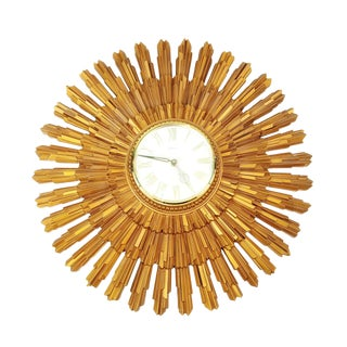 Mid Century 1969 Syroco Large Gold Starburst Wall Clock