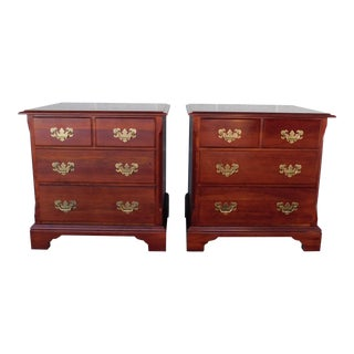 Quality Cherry Chippendale Style Nightstands - a Pair For Sale